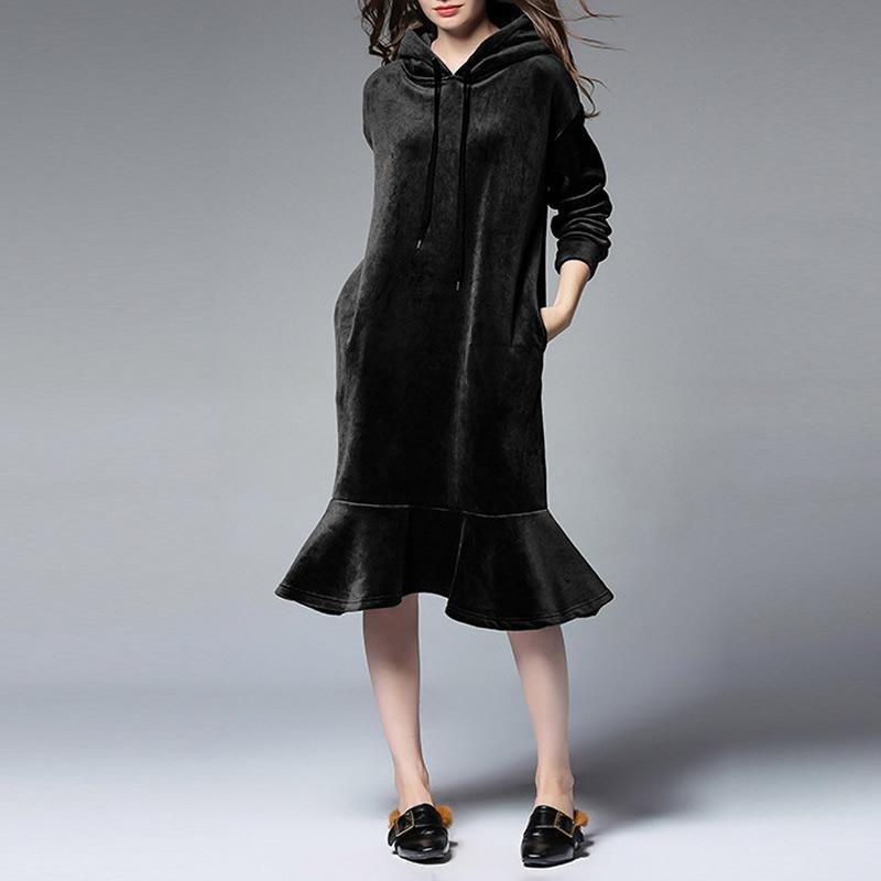 Plus size Winter Dress 2017 New Women Long sleeve Hooded Thick Velvet Casual Loose Mermaid Midi Dres