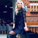2018 Spring Sexy Hollow out Lace Patchwork Pleated Dresses O-neck Velvet Short Mini Dress Casual Loo
