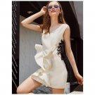 Sleeveless White Peplum Dress