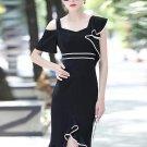 Black Falbala Women\'s Sheath Dress
