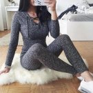 Rompers Women Jumpsuit 2017 New Fashion Long Sleeve Sexy V Cross Bandage Neck Knitted Bodycon Long P