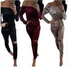 Elegant Off Shoulder Velvet Jumpsuit Women Slim Overalls Rompers Casual Long Pants Ladies Jumpsuits