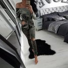 Autumn Women Solid Slim Velvet Off Shoulder Strapless Tops Long Hollow Out Pants Popular Jumpsuit