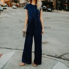 2018 Fashion Women Velvet Jumpsuits Rompers Short Sleeves Overalls Office Loose Playsuit Blue Women