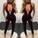 New fashion Velvet Backless Halter deep V-Neck Bandage Sleeveless Long Pants Autumn/winter women cas