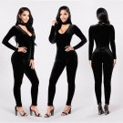 L9806 2017 new designer Fashion high grade bodycon velvet jumpsuits spring sexy skinny deep V-neck f