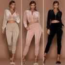 2017 new women Autumn Spring Sporting Suit Women\'s Slim Long-Sleeved Fashion Velvet Suit two piece