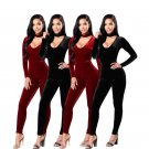 Fashion rompers womens jumpsuit 2017 new autumn black and red Velvet long sleeve v-neck skinny sexy