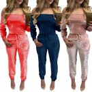 Adogirl Pink Red Blue Off Shoulder Velvet Sexy Long Sleeve Full Length Overalls Womens Autumn and Wi