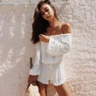 Women Beach Casual Sexy Off Shoulder Solid White Jumpsuit Shorts