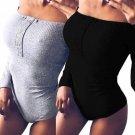 Womens Off Shoulder Tops Bodysuit Jumper Bodycon Bandage Jumpsuit Short Rompers