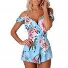 Women Off Shoulder Floral Print Jumpsuit Summer Loose Playsuit Rompers
