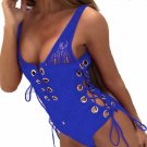 Women Sexy Bandage V-Neck  Crop Top Sleeveless Hollow Out Jumpsuit