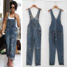 New Arrived 2015 Summer New Fashion Sexy Rompers Womens Jumpsuit Denim Jeans Jumpsuit Long Pants Sex