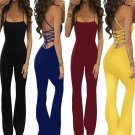 2017 Summer Sexy Jumpsuits Women Sleeveless Backless Bandage Jumpsuits Rompers Casual Long Jumpsuits