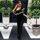 GZDL Casual Pleated Ruffles Jumpsuit Women Overalls Cool Shoulder Summer Bodysuit Jumpsuits Flare Pa