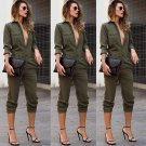 New Women Sexy V-Neck Single Breasted Long Sleeves One Piece Clothes Jumpsuit Fashion Women Clothing