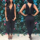 Sexy Women\'s Sleeveless Zipper Deep V-neck Bodycon Jumpsuit One Piece Romper Trousers Solid Fashion