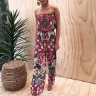 New 2018 Spring Summer Women Vintage Casual Sexy Strapless Print Jumpsuits Loose Boot Cut Retro Ladi