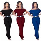 M-3XL Women Ladies Sexy Jumpsuit Off Shoulder Long Pants Casual Wide Pants Fashion Black/Wine red /B