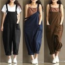 New Womens Strap Loose Jumpsuit Casual Dungaree Harem Trousers Girl Overall Pant