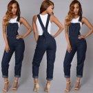 2017 new hot New Women Jumpsuit Romper Casual Braces Denim Jeans Bodycon Lapel Playsuit USA S-XL
