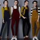 2017 women jumpsuits new loose large size high waist corduroy strap pants