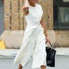 TWOTWINSTYLE Sleeveless White Jumpsuits Women Autumn Loose Big Size Wide Leg Pants High Waist Calf L