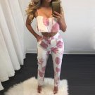 3 Colors 2017 Women Print Hollow Out Playsuits Spaghetti Strap Two Piece Jumpsuits Sexy Ladies Butto