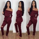 2017 Woman Sexy Jumpsuits New Summer And Autumn Jumpsuits Long Style Drawstring Tie Waist Women Off