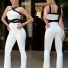 New 2016 Jumpsuit women\'s overall Black white stitching Straps Rompers Sling Halter sexy fashion wa