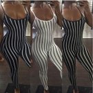 Women Lady Sleeveless Long Romper Jumpsuit Bodysuit Stretch Leotard Striped Clothes