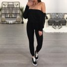 Ladies Jumpsuit Off Shoulder Bandage Playsuit Long Sleeve Jumpsuits Lace Up Sleeve Romper Black Long
