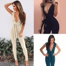New Fashion Women Deep V Neck Tie Waist Party Clubwear Jumpsuit 2017 Front Crossing Ruffle Casual Pl