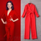2017 Spring New Jumpsuit Rompers Women Lapel Collar Double Breasted Adjustable Waist Solid Red Black