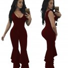 NEW 3xl Plus Size Sashes Rompers Womens Jumpsuit Boot Cut Pants Rayon Fashion Black Milk Silk Ladies