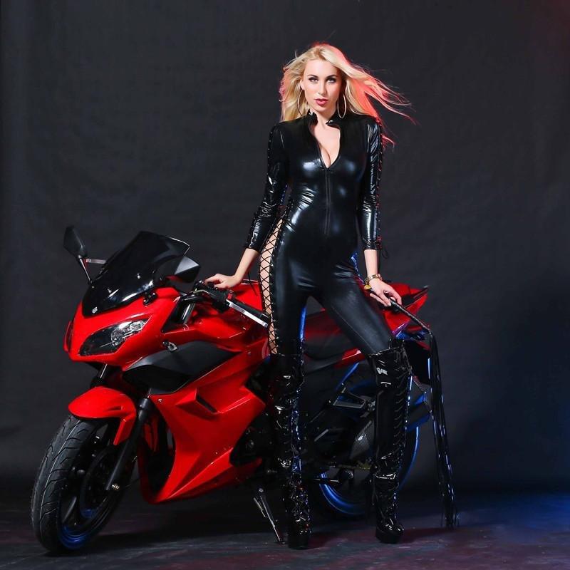 2017 Women Latex Catsuit Wet Look Jumpsuit PVC Latex Erotic Faux Leather Porn Bodysuit Fetish Gothic
