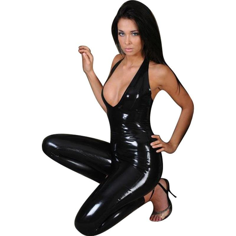 Exclusive Hot Sale  Sexy Halter Black Leather Catsuit Wet Look PVC Deep V-Neck Sleeveless Long Catsu