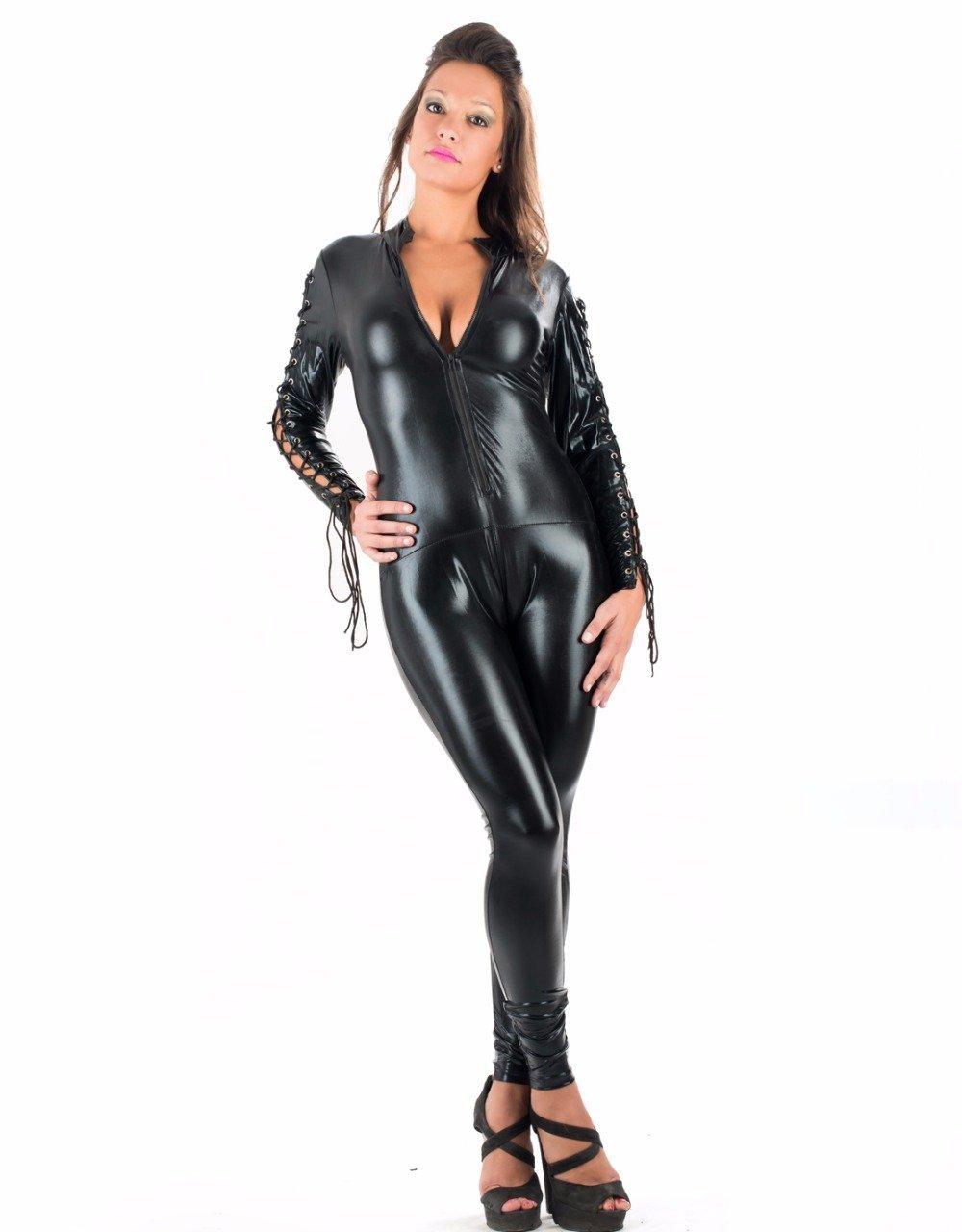 Erotic Wet Look Vinyl Jumpsuit Bodysuit Long Sleeve Zipper To Crotch Open Bra Unitard Adult Black Ca