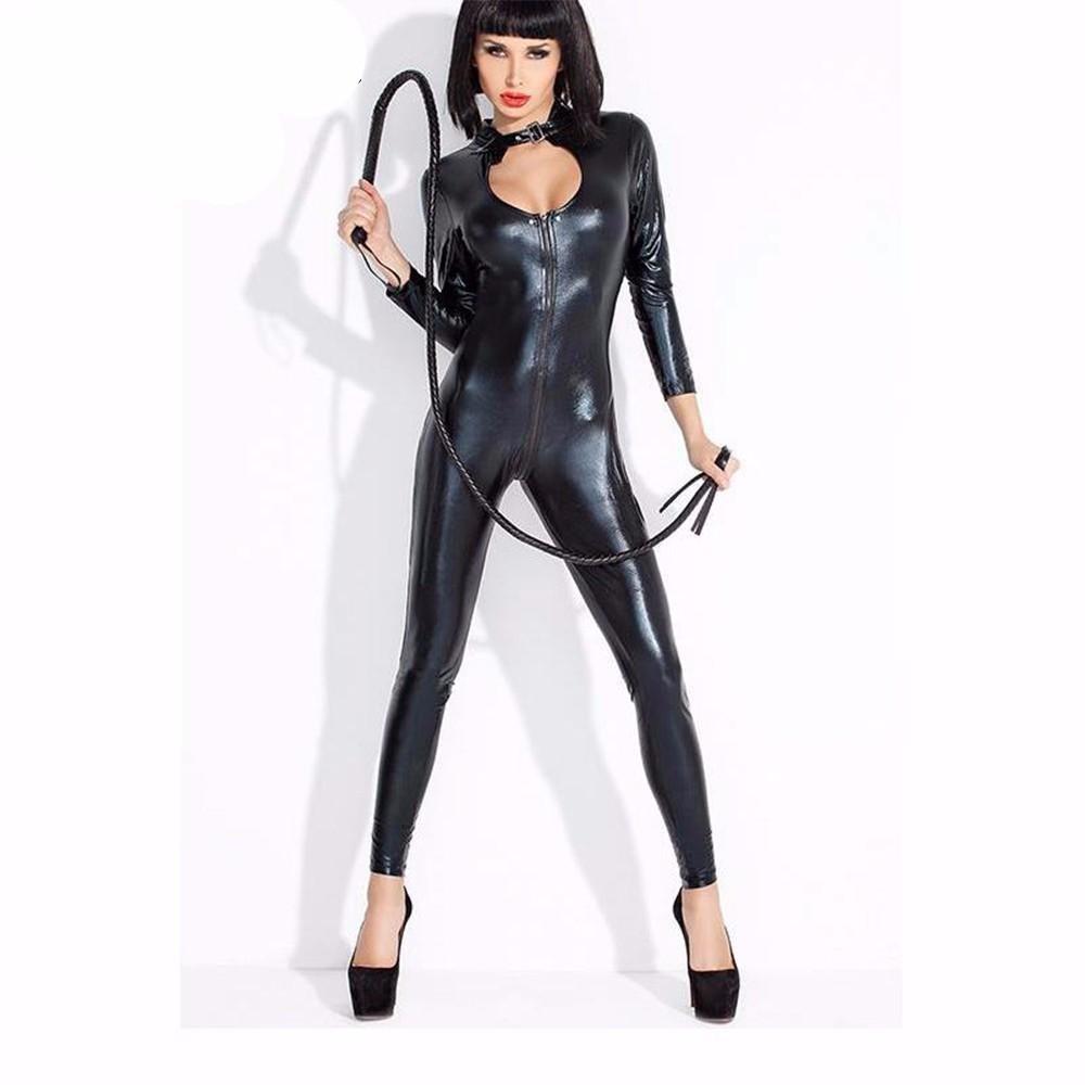 Wonder Beauty Women Wet Look Faux Vinyl Catsuit Zipper to Crotch Latex Long Bodysuit Halloween Catwo