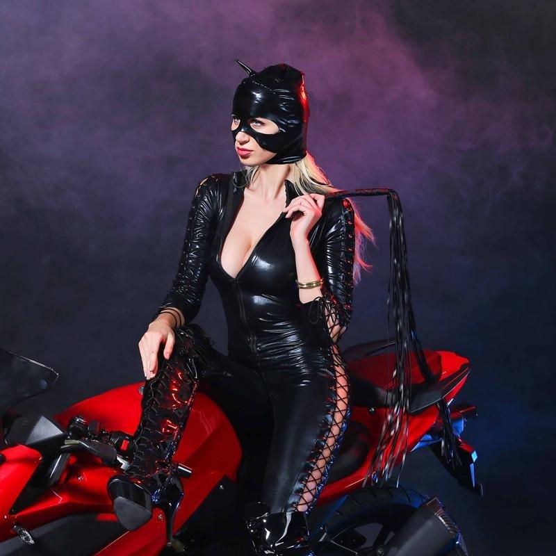 2017 Women Black PVC Sexy Faux Leather Latex Catsuit Game Uniforms Sex Fetish Bondage Harness Bodysu