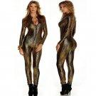 2016 Snake Skin Gold Jumpsuit Long Sleeve Front Zipper Black Gray Bodysuit Ladies Playsuits Faux Lea