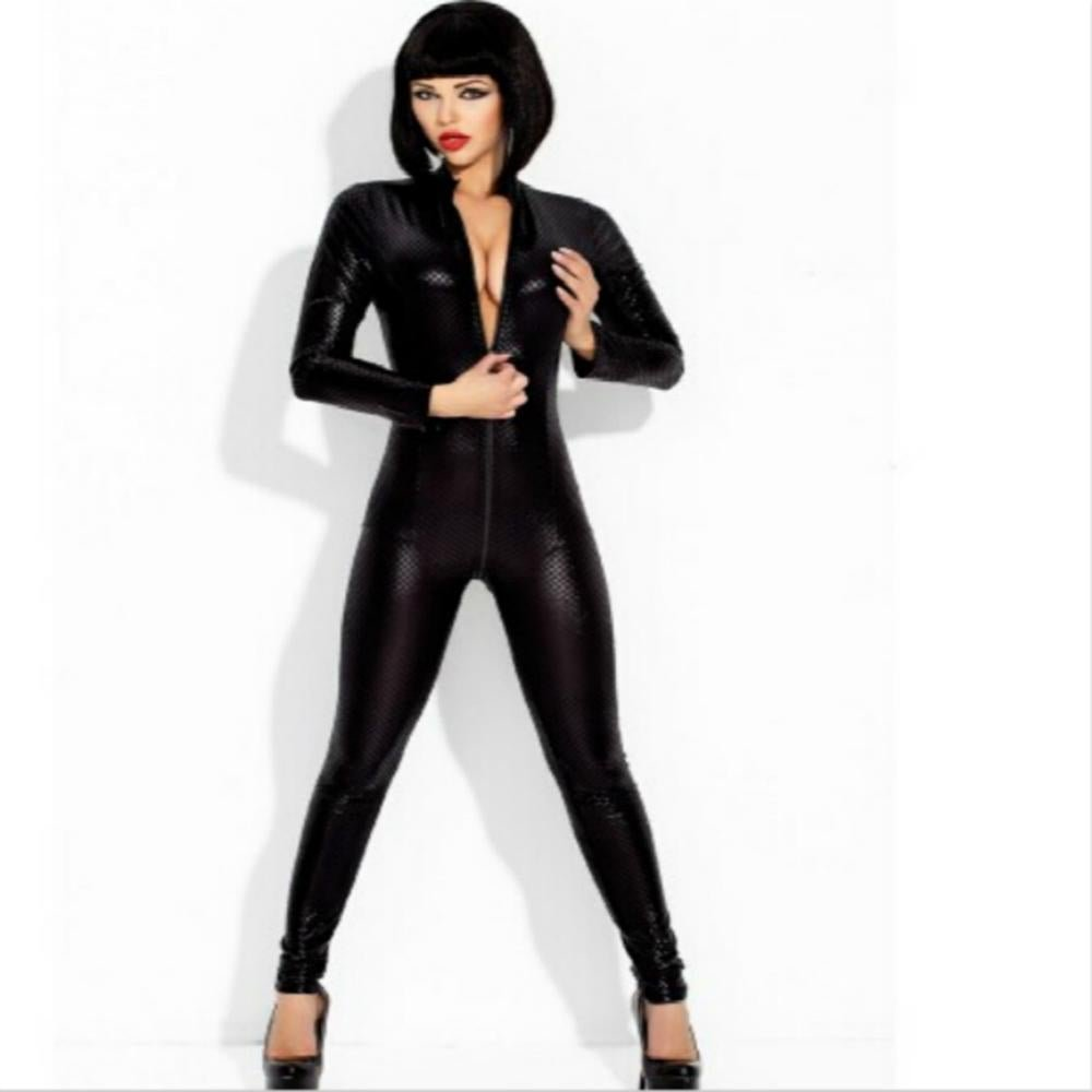 Wonder beauty Black Sexy Faux Leather Latex Catsuit Clubwear With Zipper to Crotch Sex Fetish Bandag