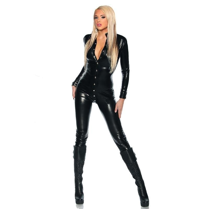 2017 Stylish Woman Long Catsuit Spandex Fashion Single-Breasted Buttons Design Bodycon Faux Leather