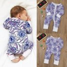 Newborn Baby Boys Girls Flower Print Romper Jumpsuits Outfits Clothes Floral Print Long Sleeve Rompe