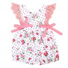Newborn Baby Girls Strawberry Lace Sleeve Romper Dot Bowknot Jumpsuit Outfits Clothes Sunsuit