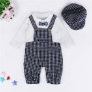 Newborn Rompers Jumpsuit Summer Baby Boys Lattice Gentleman Rompers+Cap Suits Sets Kids Clothes Outf