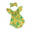 Baby girls set Infant Baby Girl Off Shoulder Print Romper Jumpsuit Headband Outfit Clothes Set kids