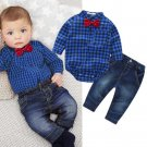 baby boys clothing set plaid rompers with bowtie + demin pants 2017 fashion baby boy clothes newborn