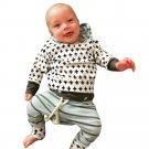 Infant Baby Boys Girls Striped Clothes Hoodie Tops T-shirt+Cotton Pants 2pcs suit newborn baby boys